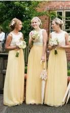Jewel Lace Chiffon Elegantes ärmelloses A-linien-brautjungfernkleid RP03652