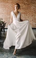 A-linie V-ausschnitt Mit Offenem Rücken Satin Langes Brautkleid Mit Taschen Twa0052