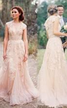 Hochwertiges ärmelloses Bodenlanges Brautkleid Mit V-ausschnitt Und Spitze Twa0152