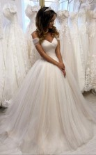 Schulterfreies Tüll Schatz Weißes Hochzeitskleid Brautkleid Twa0202