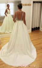 A-linie Perlen ärmelloses V-ausschnitt Brautkleid Mit Schleife Twa0502