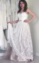 Schatz ärmelloses Langes Weißes Brautkleid Mit Spitze Twa0532