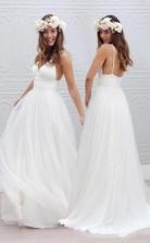 Schlichtes Bodenlanges Brautkleid Mit V-ausschnitt Und Geraffter Schärpe Twa0542