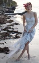 Illusion Ausschnitt Schiere Rücken Strand Spitze Chiffon Brautkleid Twa0552