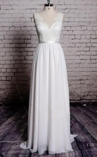 A-linie Spitze V-ausschnitt Rückenfreies Etui Langes Brautkleid Twa0582