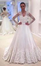 V-ausschnitt Lange Ärmel Applikationen Brautkleid Mit Hofschleppe Twa0642