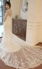 Meerjungfrau-hochzeitskleid Mit Langen Ärmeln Und Perlenstickerei Twa0652