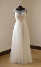 Romantisches A-linie U-ausschnitt Mit Flügelärmeln Brautkleid Twa0702