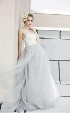 A-linie Weiße Spitze Grauer Tüll Trägerloses Herzförmiges Brautkleid Twa0712