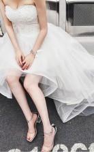 High Low Sweet Heart Tüll Perlen Brautkleid Mit Hofschleppe Twa0852