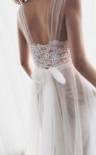 Träger Tüll Weiße Spitze Strand Brautkleid Mit Kleiner Hofschleppe Twa0862