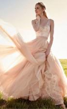 Romantisches V-ausschnitt Erröten Rosa Spitze Brautkleid Abnehmbarer Rock Brautkleid Twa0882