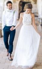 Schlichtes Juwel ärmelloses Bodenlanges Brautkleid Mit Spitze Twa0982