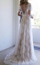 Romantisches A-line Langes Hochzeitskleid Aus Weißer Spitze Mit Offenem Rücken Twa1112
