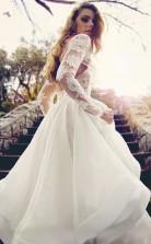 Glamouröses V-ausschnitt Mit Langen Ärmeln Spitze Organza Brautkleid Twa1252