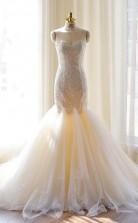 Tüll Meerjungfrau Wunderschöne Spitzenapplikationen Schatz Brautkleid Twa1272