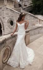Illusion Ausschnitt Spitze Meerjungfrau Langes Brautkleid Twa1312