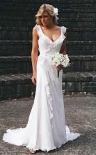 Elegantes V-ausschnitt Chiffon Rüschen ärmelloses Brautkleid Brautkleider Twa1422