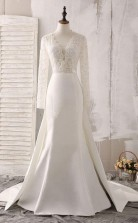 Elfenbeinfarbenes Brautkleid Mit V-ausschnitt Aus Spitze Und Satin Mit Perlenstickerei Twa1442
