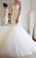 Elegantes Brautkleid Im Meerjungfrau-stil Aus Transparentem Tüll Twa1482