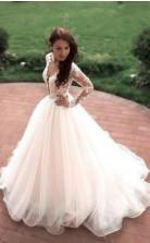 Prinzessin A-linie V-ausschnitt Tüll Elfenbein Lange Ärmel Brautkleid Twa1812