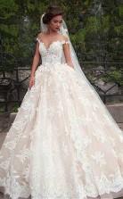 Fantastisches Ballkleid Brautkleid Aus Tüll Mit Bateau-ausschnitt Und Spitze Twa1852