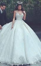 Ballkleid Brautkleid Mit V-ausschnitt Und Spitzenapplikationen Twa1872