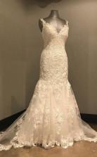 Elegantes Langes Brautkleid Aus Elfenbeinspitze Mit Offenem Rücken Twa2082