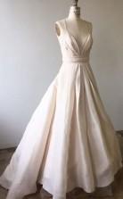 Spaghetti-träger Hellrosa Langes Hochzeitskleid Mit überschnittenem Rücken Twa2102