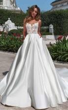 Satin-ausschnitt A-linie Brautkleid Mit Taschen Spitzenapplikationen Twa2172