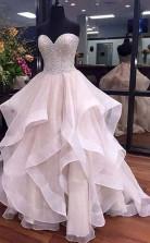 A-linie Sweetheart Bodenlanges Brautkleid Aus Organza Mit Perlenstickerei Twa2242