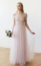 Schulterfreies Langes Hochzeitskleid Aus Rosa Spitze Und Tüll Twa2342