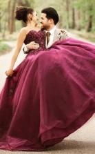 Ballkleid Sweetheart Burgunder Tüll Brautkleid Mit Handgemachten Blumen Twa2382