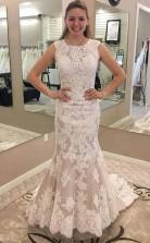 Meerjungfrau Rundhalsausschnitt Brautkleid Aus Spitze Mit Applikationen Twa2492