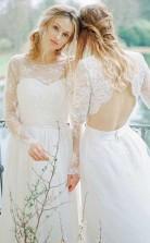 A-linie Rundhalsausschnitt Brautkleid Mit Offenem Rücken Und Spitzenärmeln Twa2602