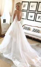 Schlichtes A-line V-ausschnitt Träger Elfenbein Langes Brautkleid Mit Rückenfrei Twa2752