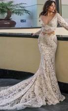 Meerjungfrau Tiefem V-ausschnitt Lange Ärmel Weißes Brautkleid Mit Taschen Twa2812