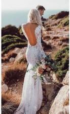 Spitze Rustikales Brautkleid Langarm Meerjungfrau Brautkleid Twa2842