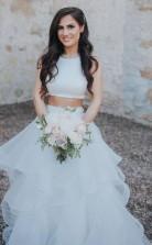 Zweiteiliges Weißes Brautkleid Mit Rüschenrock A-linie Brautkleid Twa2872