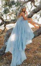 Geteiltes Himmelblaues Rustikales Hochzeitskleid Strandhochzeitskleid Mit Hofzug Twa2892