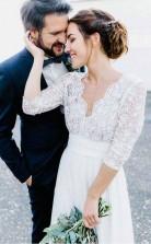34 Ärmel Durchsichtiges Rückenfreies Brautkleid Aus Spitze & Chiffon Twa2912