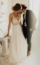 Elfenbein Strand Brautkleid Durchsichtig Perlen Perlen Brautkleid Twa2932