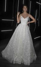 A Line Rückenfreies Brautkleid Mit V-ausschnitt Pailletten Elfenbein Brautkleider Twa2942