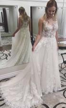 Elfenbeinfarbenes Brautkleid Aus Spitze Durchsichtige Applikation Mit Hofschleppe Twa2962