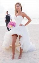 Vintage High Low Strand Brautkleid Trägerloses Weißes Brautkleid Twa2972