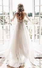Langärmliges Rückenfreies Brautkleid Aus Elfenbein-tüll Twa3022