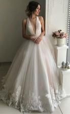 Wunderschönes V-ausschnitt ärmelloses Tüll Brautkleid Brautkleider Twa3062