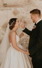 Billige A-linie Träger Bodenlanges ärmelloses Elfenbein Hochzeitskleid Twa3082