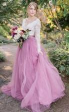 A-linie V-ausschnitt Lange Ärmel Rosa Tüll Brautkleid Mit Spitzenapplikationen Twa3112
