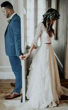 Zweiteiliges 34 Ärmel Chiffon Brautkleid Billig Hochzeitskleid Twa3142